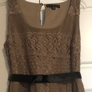 Lace  light brown dress with satin belt  size 9